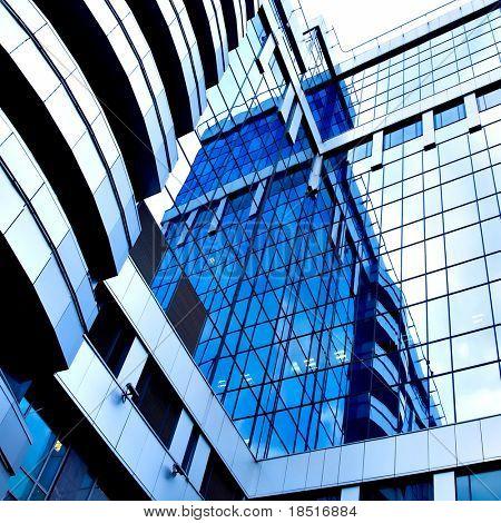 beautiful reflection in modern glass wall