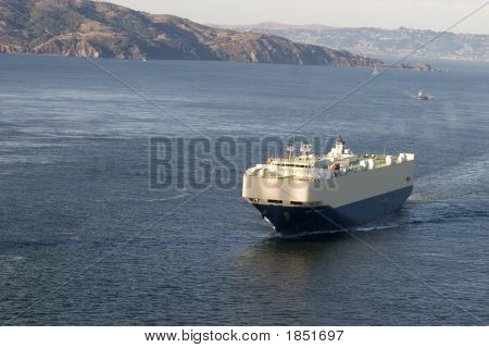Cargo Boat With Island