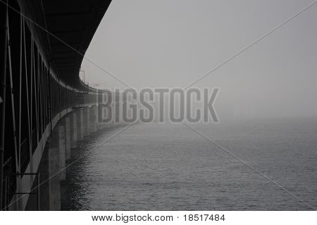 Oresunds bridge lost in the fog