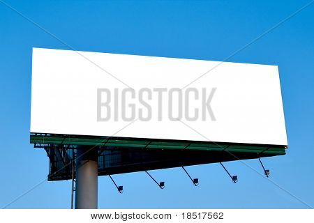 Blank billboard over blue sky