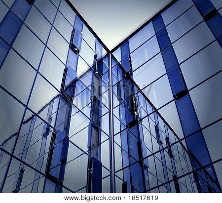 modern glass business center at night