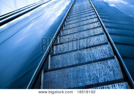 Moving escalator in the metro station