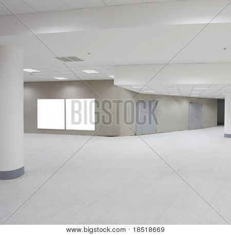 business hall with white placards