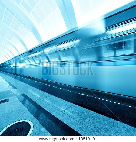 underground platform with moving train