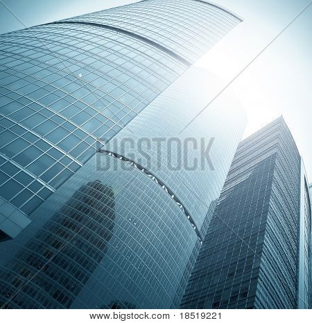 endless side of glass skyscraper in business center