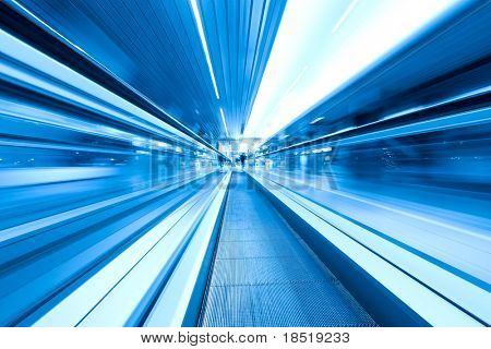 movement of abstract blue escalator with people