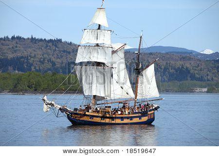 Galleon sailing.