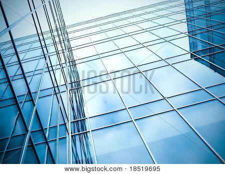 superficie de vidrio del ángulo contemporáneo de edificio del negocio