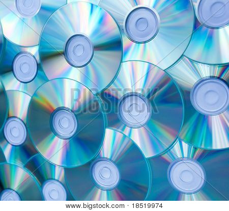 colorful background of compact discs