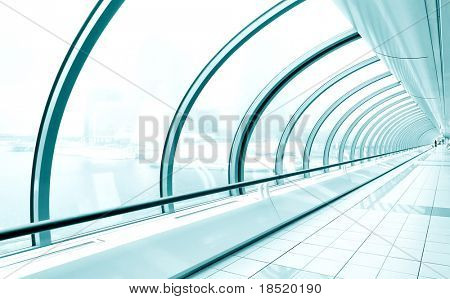 blue diminishing transparent hallway