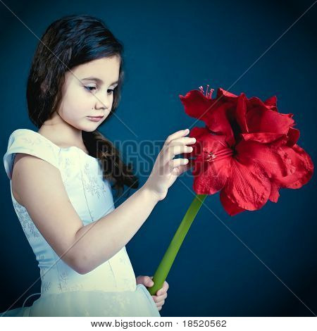 beautiful dreaming girl with red dry flower, autumnal mood
