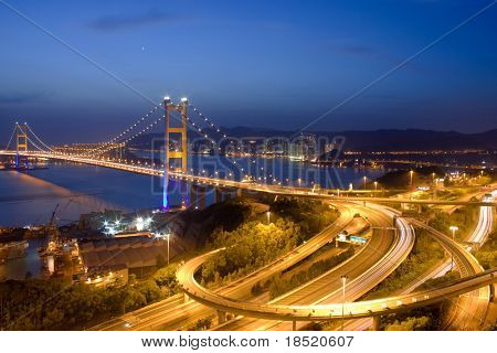 Tsing Ma Bridge night view, Hong Kong