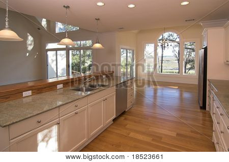 kitchen with waterfront view