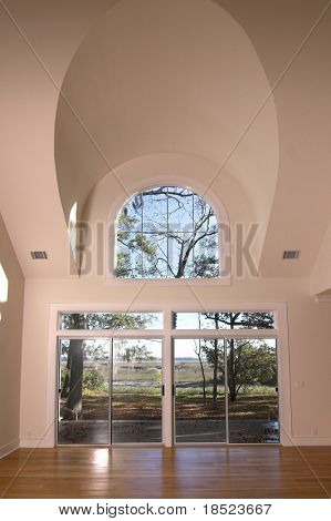 livingroom with vaulted ceiling