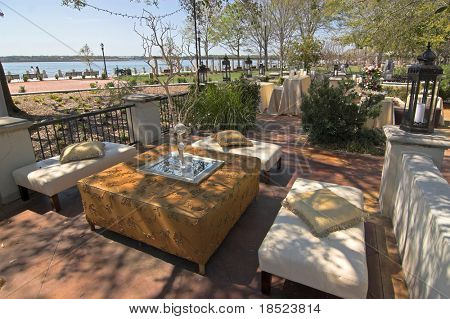 luxurious patio with rich furniture and decorations