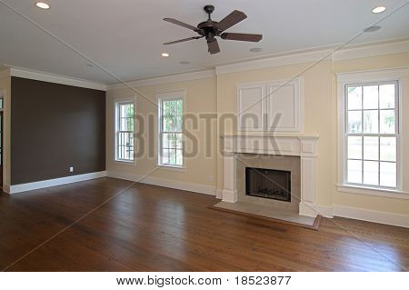 livingroom in affluent home with fireplace
