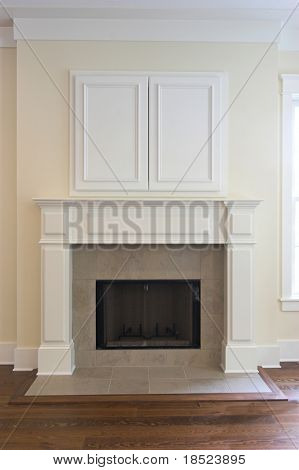 fireplace with closed wall cabinet for flatscreen tv. Can be paired with 3232495
