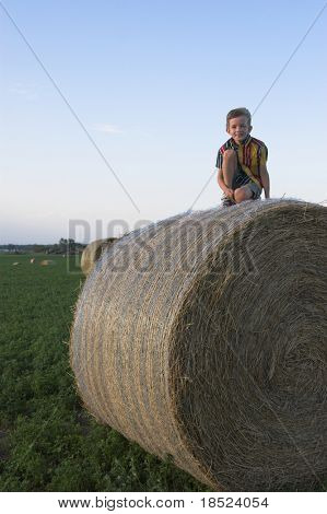 farmboy atop huge haybale, room in sky for text