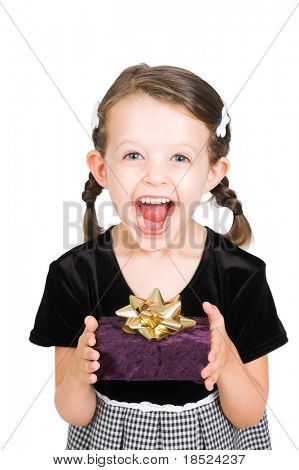 little girl thrilled with the gift she has received, isolated