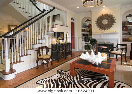 modern livingroom well decorated in african motif