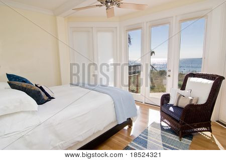 hotel or residential bedroom with gorgeous view of the ocean
