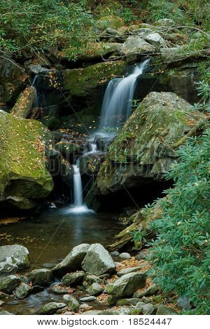 waterfall and lush autumn foliage in the great smoky mountains, tennessee