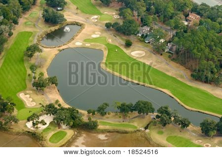 aerial view of expensive golf community in american southeast