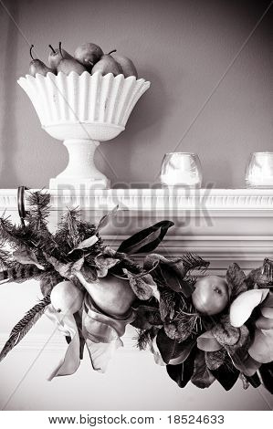 holiday autumn decorations on mantle, black and white