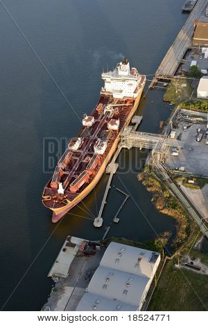 aerial view of oil tanker in port