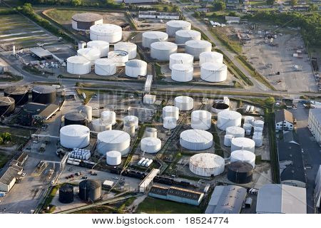 oil storage tank, aerial view