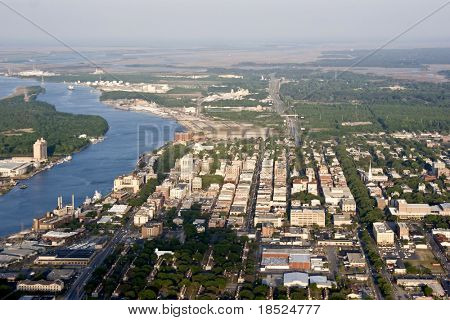aerial view of downtown savannah, georgia