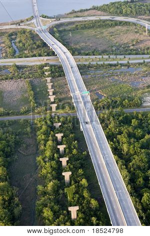 aerial view of elevated roadway