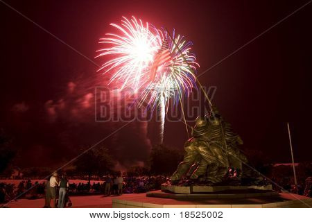 fireworks over the statue of the soldiers at iwo jima at parris island
