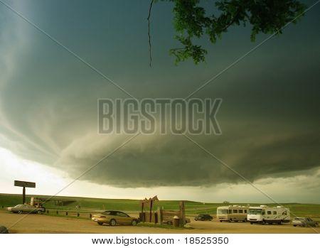 supercell bearing down on the dakota plains