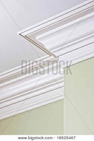 detail of intricate corner crown molding