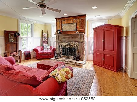 livingroom with eclectic antique and modern styling