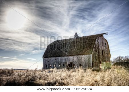abandoned barn and winter sky, hdr image
