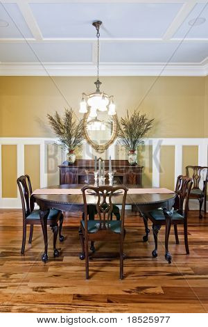 elegant diningroom with walnut floors etc etc