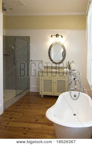 elegant bathroom with clawfoot tub and glass shower