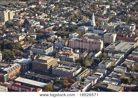 aerial view of city of charleston south carolina