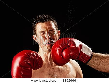 boxer actually being hit, studio shot