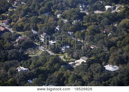aerial view of small colonial town in south carolina usa