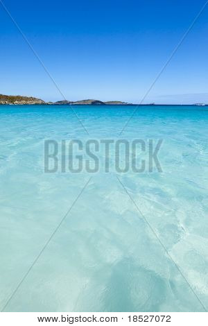turquoise water of trunk bay in the caribbean