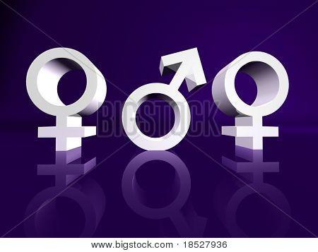 Liebe Dreieck zwei Frauen in der Liebe mit einem männlichen symbol
