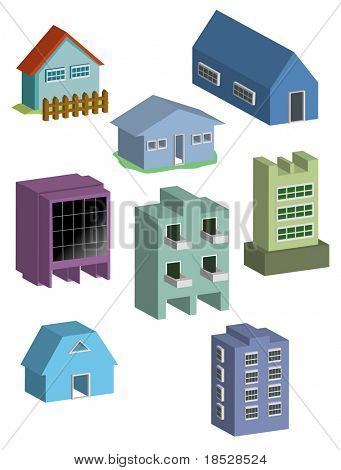 Building and houses 3d illustration vector