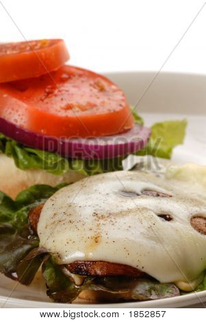 Portobello Mushroom Burger Served Open Faced