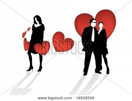 A love triangle between a man and two women vector