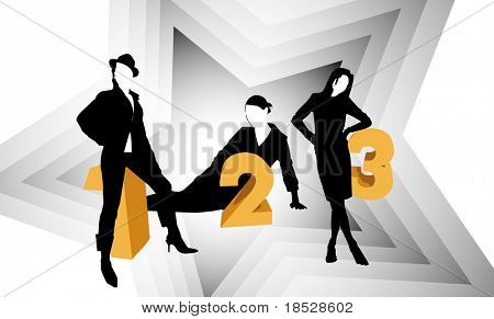 Super star women competition top three winners silhouettes