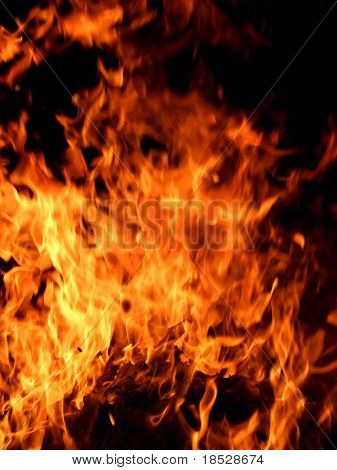 Fire burning in dark background