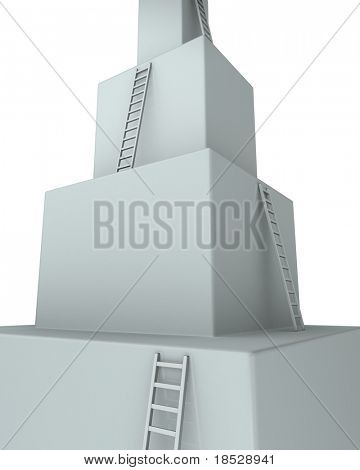 Stage of learning curve 3d rendered illustration